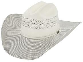 Larry Mahan Men's 10X Grey Cinch Straw Cowboy Hat, Ivory, hi-res