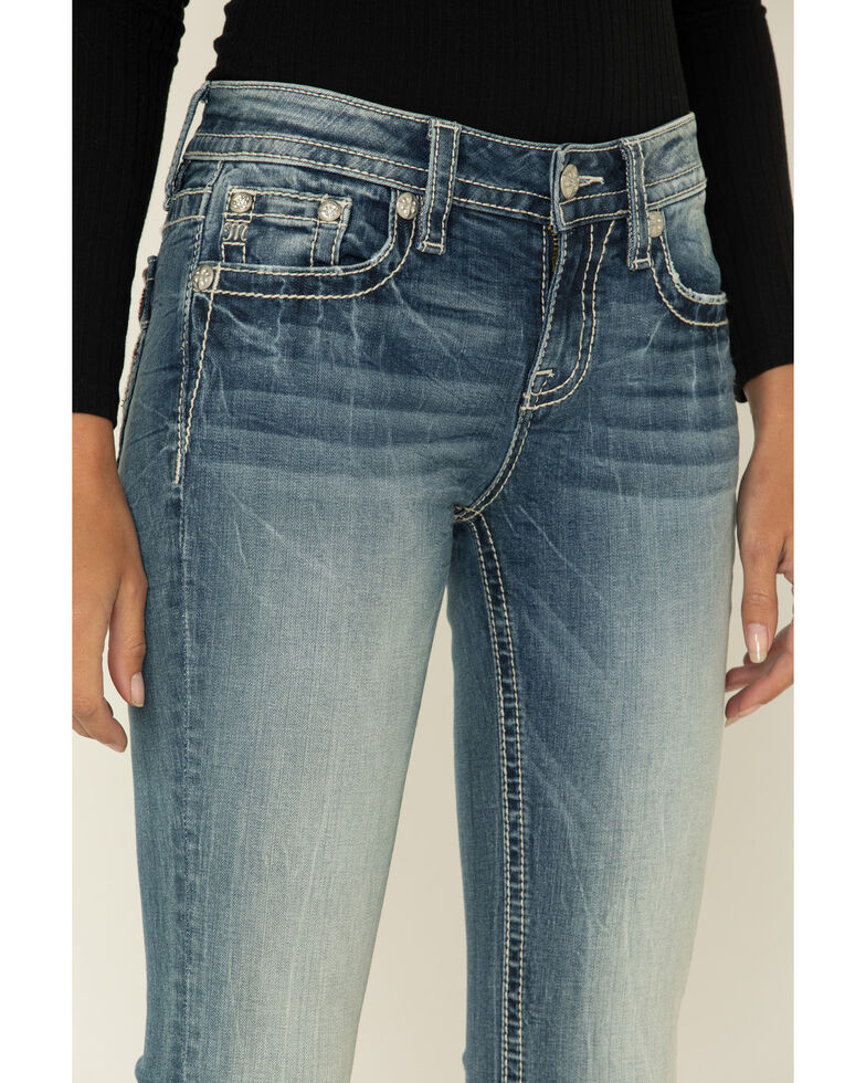 "Miss Me Women's Medium Mid-Rise Wing 34"" Bootcut Jeans , Blue, hi-res"