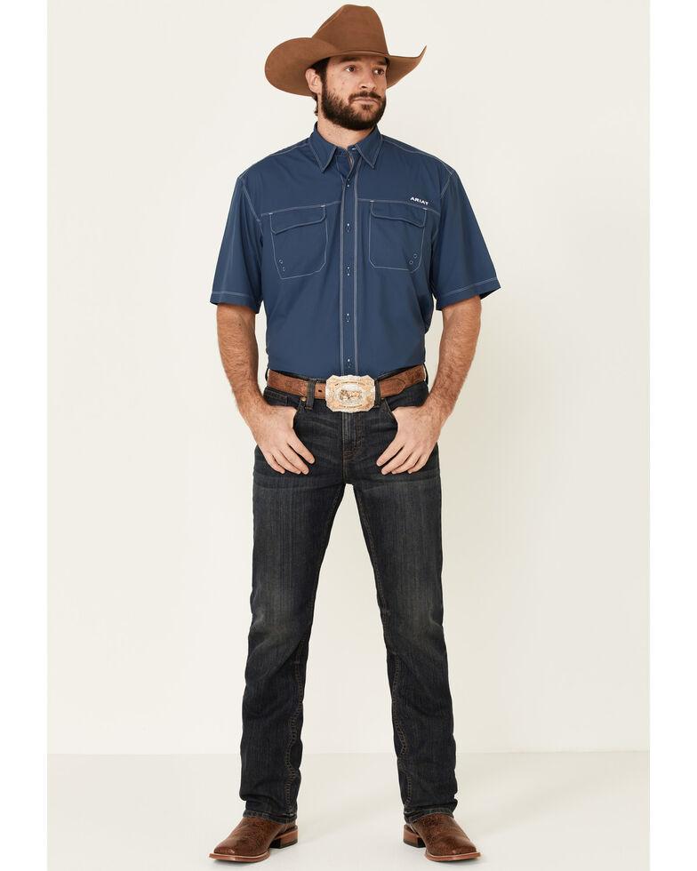 Ariat Men's Blue Vent Tek Outbound Short Sleeve Western Shirt , Blue, hi-res