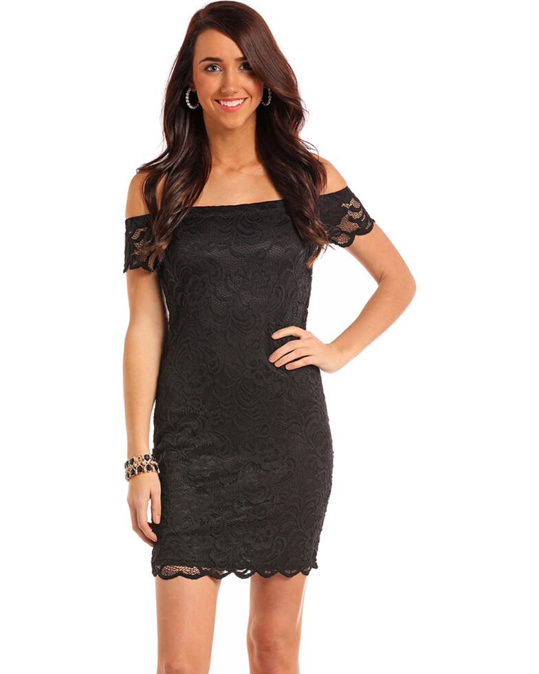 Panhandle Womens Black Lace Cap Sleeve Dress Country Outfitter