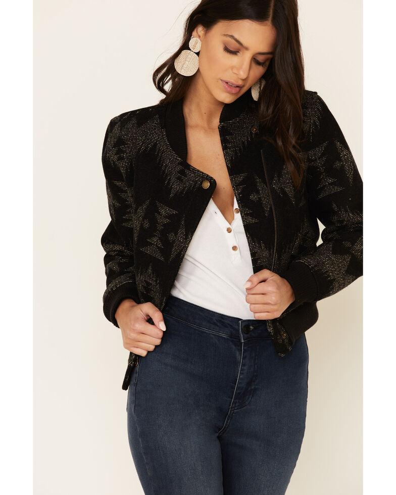 Pendleton Women's Black Sonora Jacquard Bomber Jacket, Black, hi-res