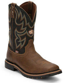 Justin Men's Fireman Black Western Boots - Wide Square Toe, Tan, hi-res