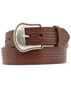 Double S Basketweave Embossed Leather Belt - Big, Brown, hi-res