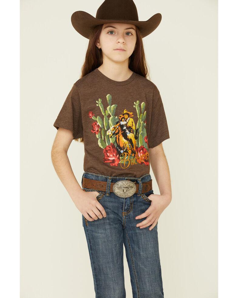 Rodeo Quincy Girls' Buckaroo Cactus Graphic Short Sleeve Tee , Brown, hi-res