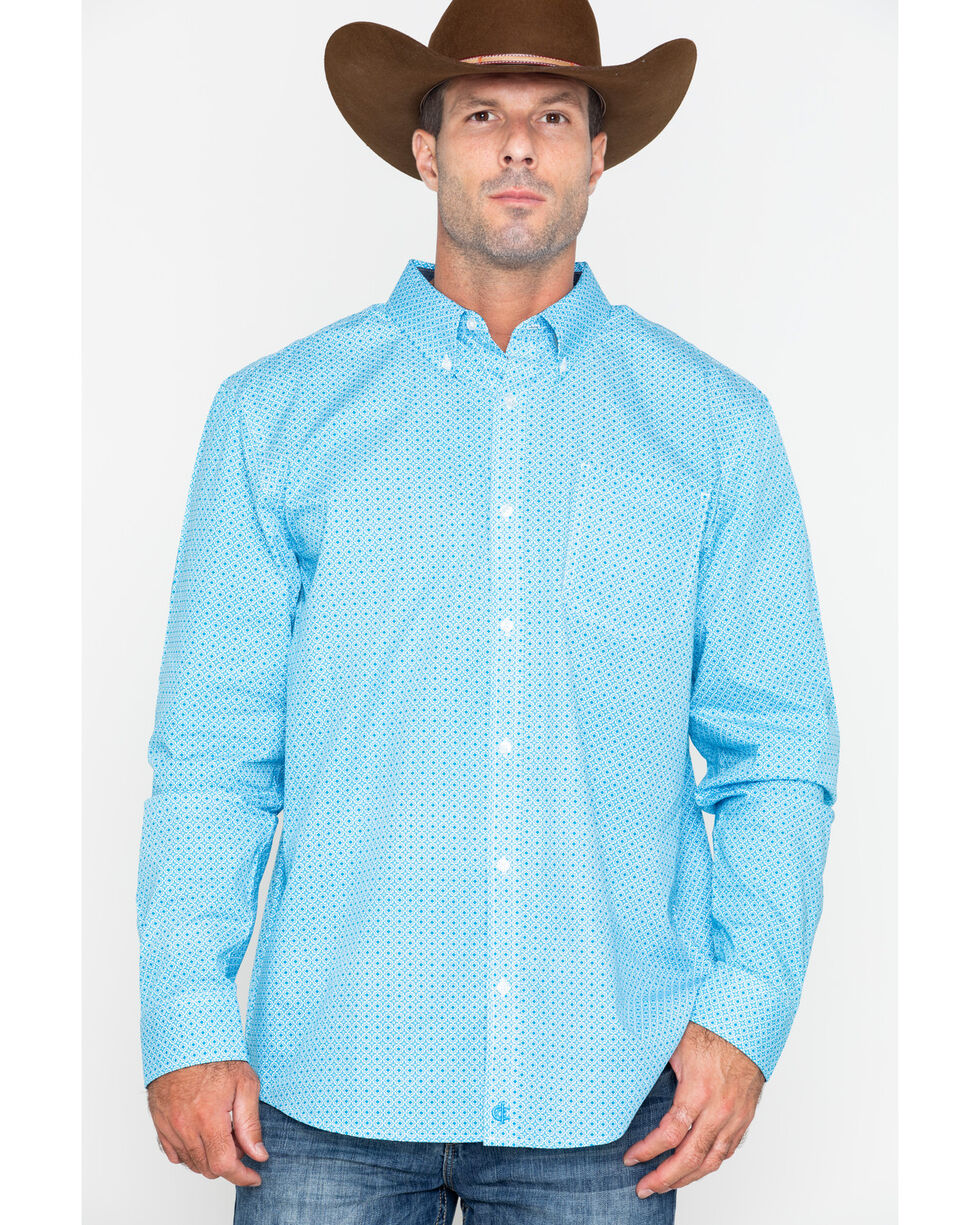 Cody James Core Men's Kaleidoscope Geo Print Button Long Sleeve Shirt , Turquoise, hi-res