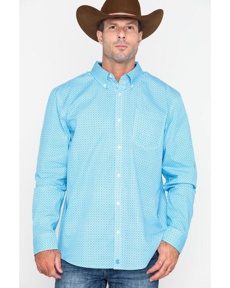 Cody James Core Men's Kaleidoscope Geo Print Button Long Sleeve Shirt , Turquoise, hi-res