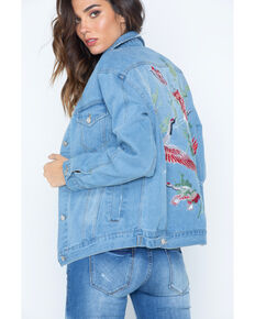 Illa Illa Women's Embroidered Boyfriend Denim Jacket, Indigo, hi-res