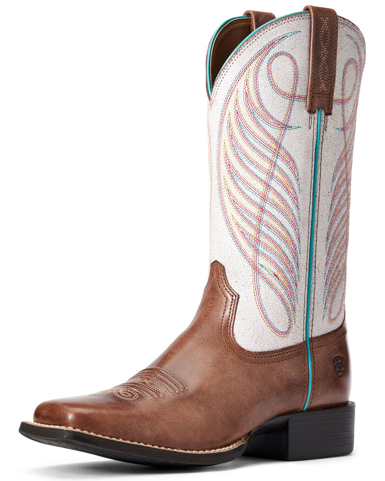 Ariat Women's Round Up Western Boots - Square Toe, Brown, hi-res
