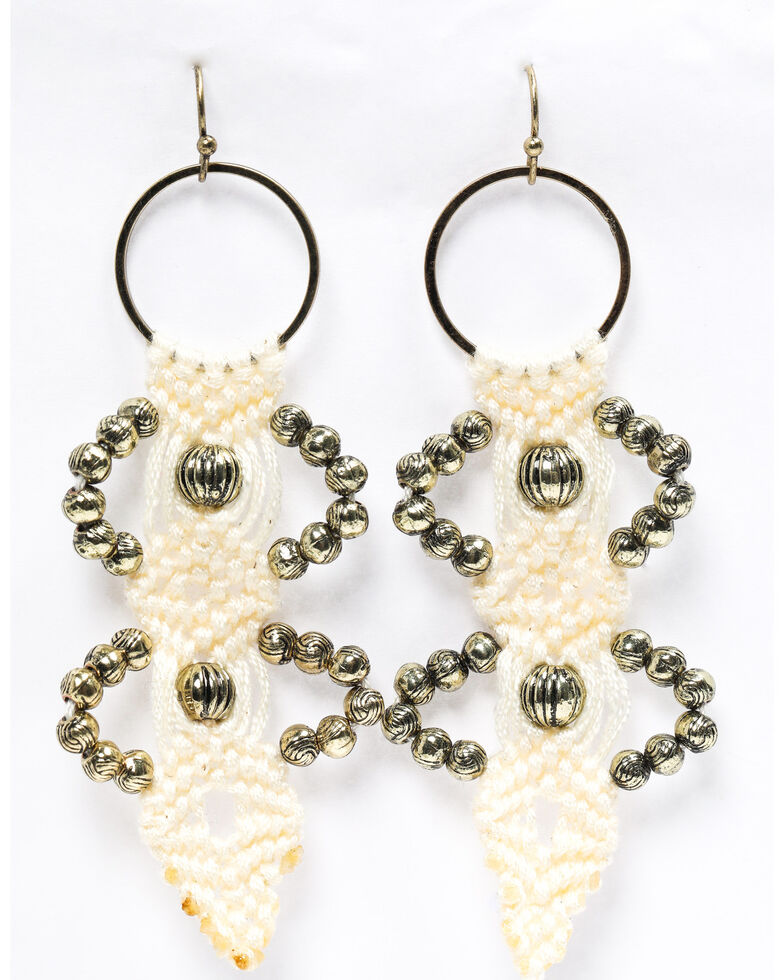 Shyanne Women's Emma Rae White Macrame Earrings, White, hi-res