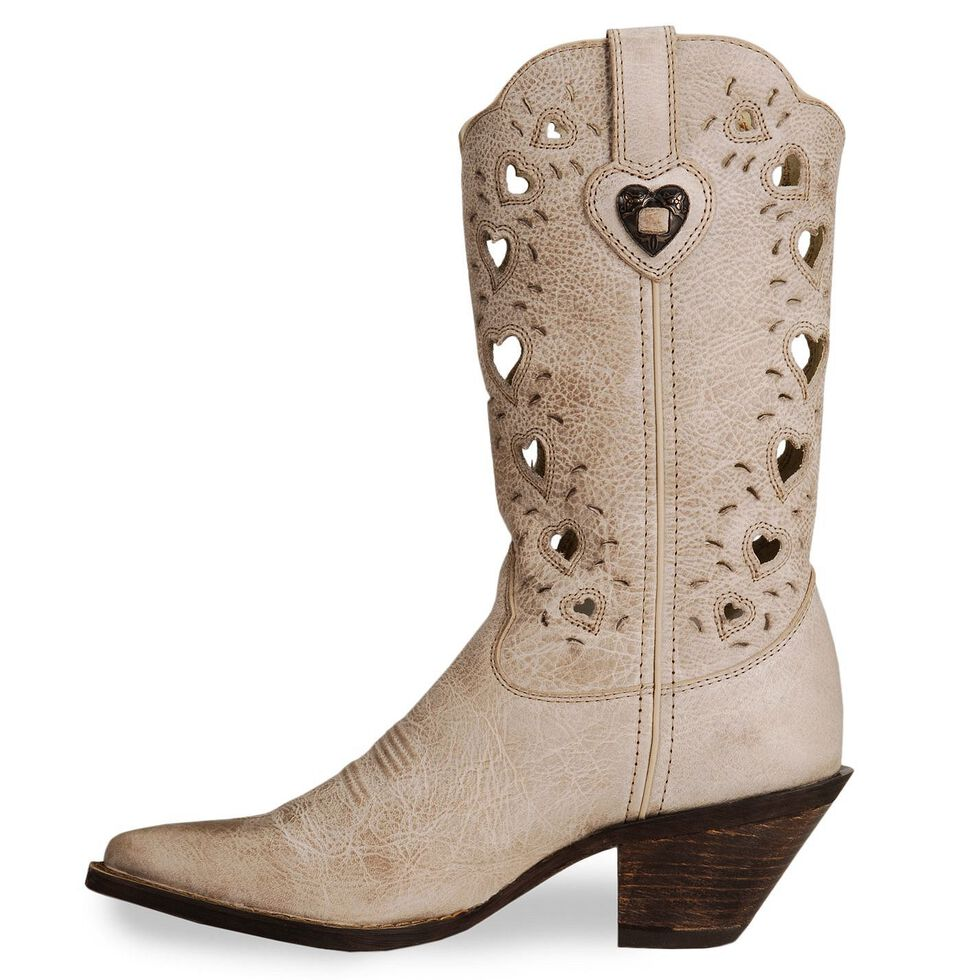 Durango Crush Taupe Heart Cut-out Cowgirl Boots - Pointed Toe, Taupe, hi-res
