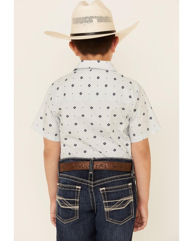 Cody James Boys' Stagecoach Geo Print Short Sleeve Western Shirt , Light Blue, hi-res