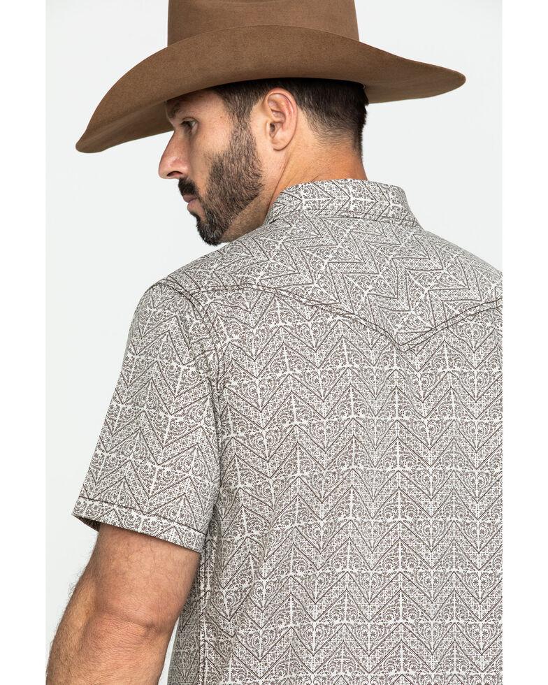 Cody James Men's Chevron Floral Geo Print Short Sleeve Western Shirt , Tan, hi-res