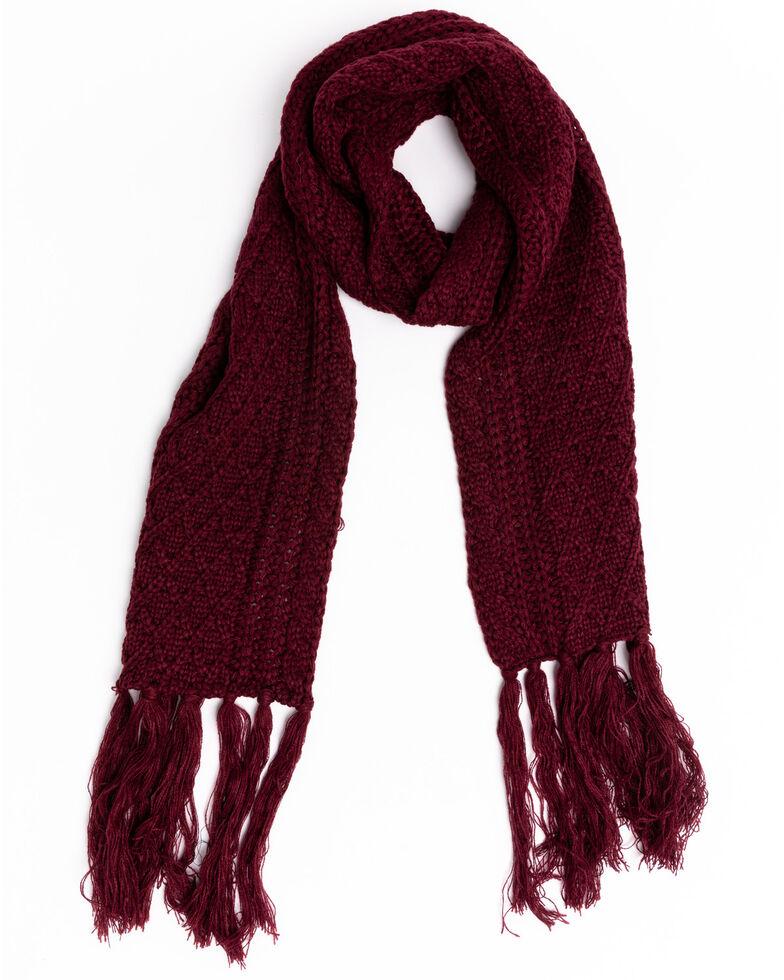 Shyanne Women's Wine Chunky Knit Scarf, Wine, hi-res