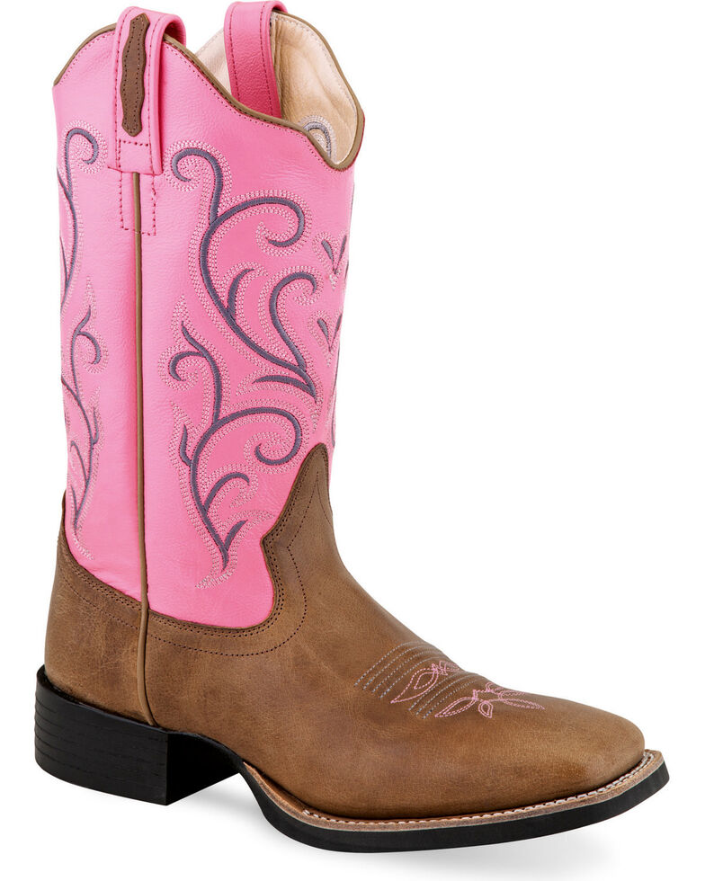 Old West Women's Pink Leather Boots - Square Toe , Tan, hi-res