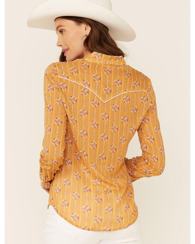 Stetson Women's Mustard Horseshoe Wallpaper Print Long Sleeve Snap Western Shirt , Mustard, hi-res