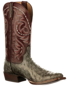 Lucchese Men's Harris Western Boots - Wide Square Toe, Grey, hi-res