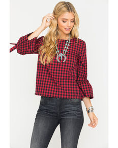Jack by BB Dakota Women's Ruby Seen It All Gingham Top, Ruby, hi-res