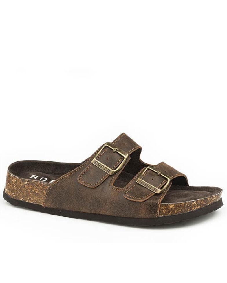 Roper Women's Brown Vintage Leather Sandals, Brown, hi-res