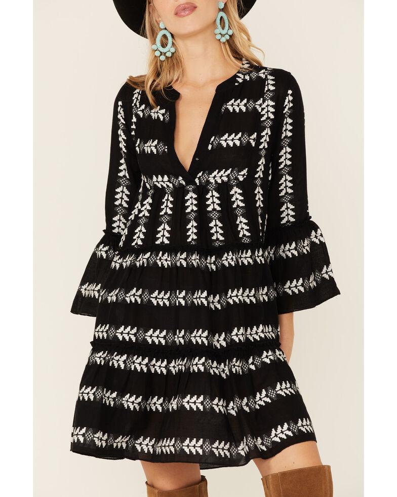 Elan Women's Arrow Pattern Tiered Mini Dress, Black/white, hi-res