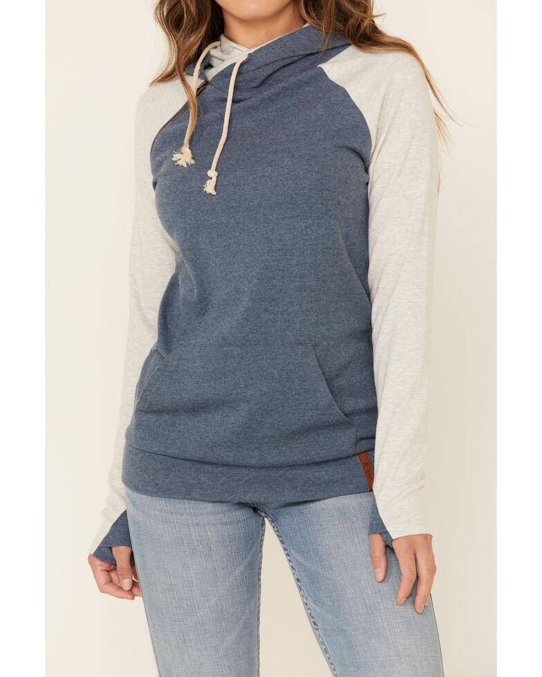 Ampersand Avenue Women's Blue Contrast Sleeve Hoodie , Blue, hi-res