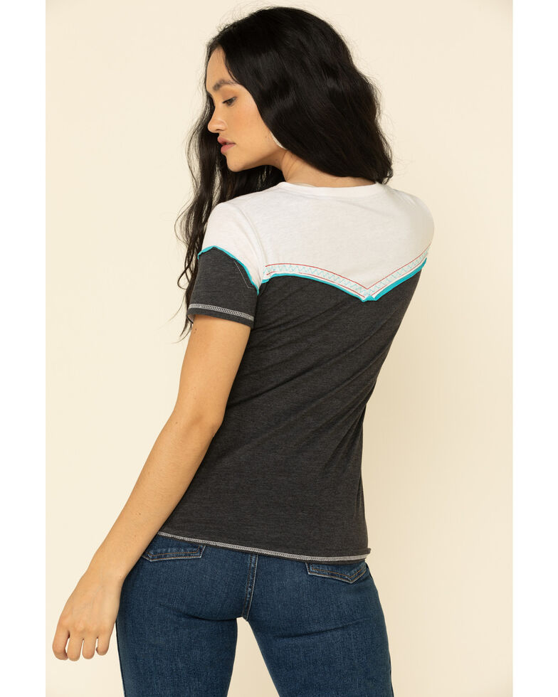 White Label By Panhandle Women's Navy Embroidered Western Tee, , hi-res