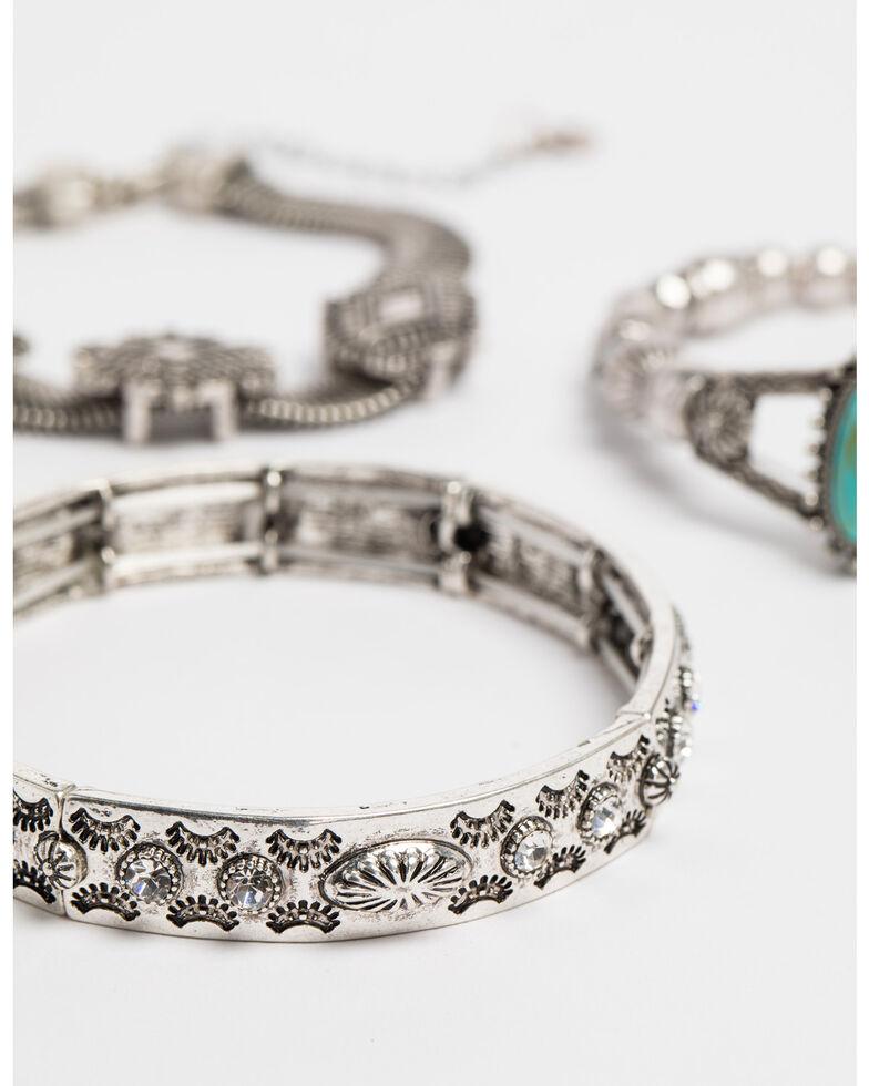 Shyanne Women's Bella Concho Turquoise Stretch 3 Pack Bracelet Set, Silver, hi-res