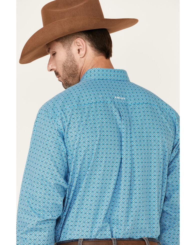 Ariat Men's Wrinkle Free Gavin Geo Print Long Sleeve Button-Down Western Shirt - Big, Turquoise, hi-res