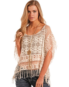 Panhandle Women's Fringe Crochet Poncho, Cream, hi-res