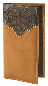 Cody James Men's Tooled Cross Wallet, Brown, hi-res