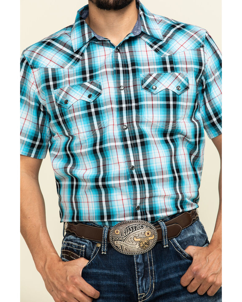 Cody James Men's Firefly Large Plaid Short Sleeve Western Shirt , Blue, hi-res
