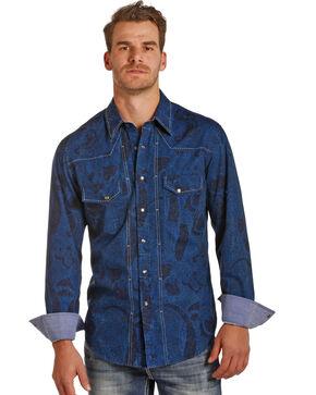 Rock & Roll Cowboy Men's Blue Paisley Print Shirt , Blue, hi-res