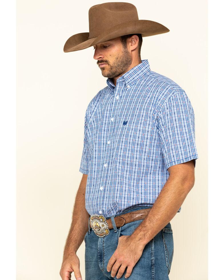 Rough Stock By Panhandle Men's Devlin Dobby Plaid Short Sleeve Western Shirt , Blue, hi-res