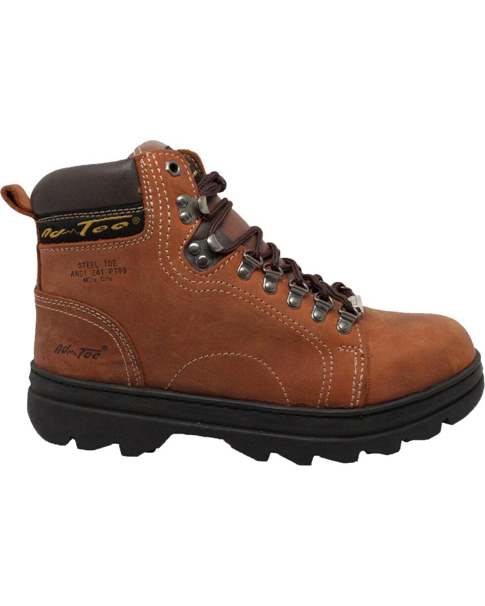 "AdTec Men's 6"" Brown Leather Hiker Work Boots - Steel Toe , Brown, hi-res"