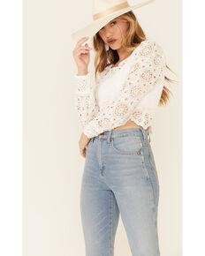 Very J Women's Circle Crochet Long Sleeve Crop Top , White, hi-res