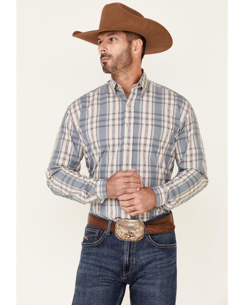 Stetson Men's Grey Dobby Plaid Long Sleeve Button-Down Western Shirt , Grey, hi-res
