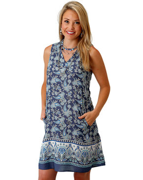Roper Women's Blue Paisley Border Print Dress , Blue, hi-res