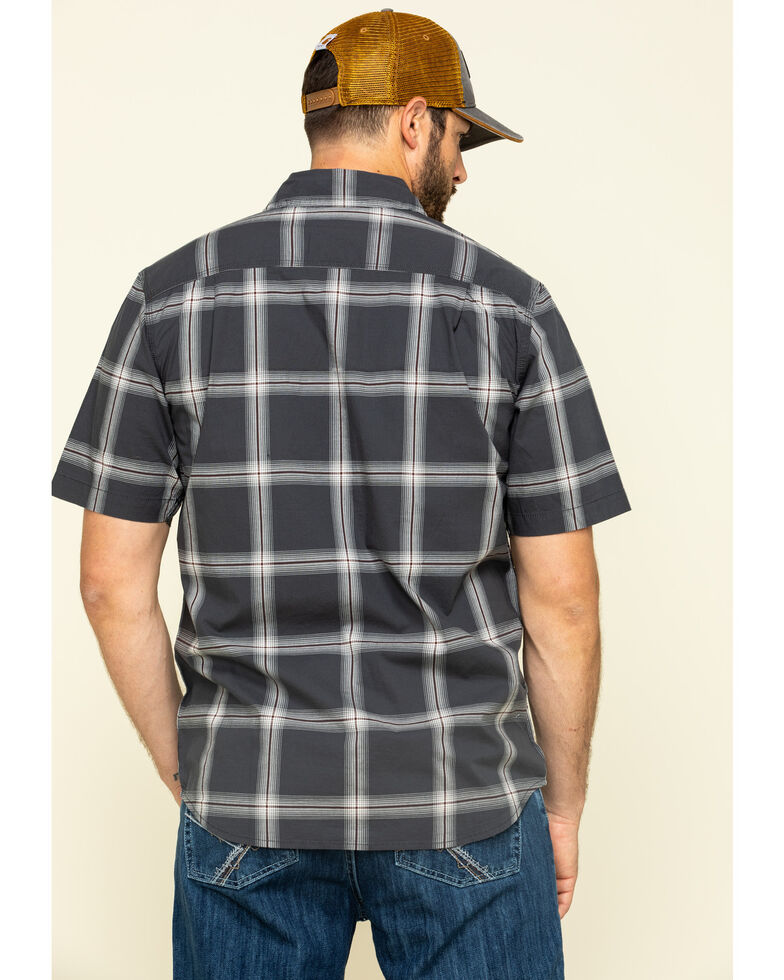 Carhartt Men's Grey Rugged Flex Bozeman Plaid Short Sleeve Work Shirt - Big , Grey, hi-res