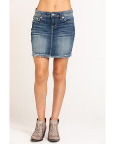 Miss Me Women's Studded Denim Skirt , Blue, hi-res