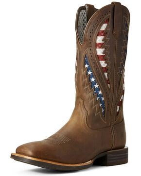 Ariat Men's VentTEK Western Boots - Wide Square Toe, Brown, hi-res