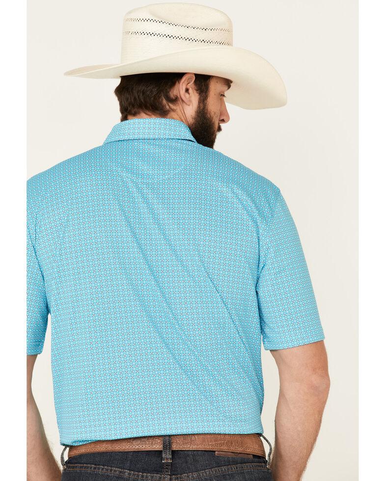 Ariat Men's Bluebird Printed Poly Short Sleeve Polo Shirt - Tall , Blue, hi-res