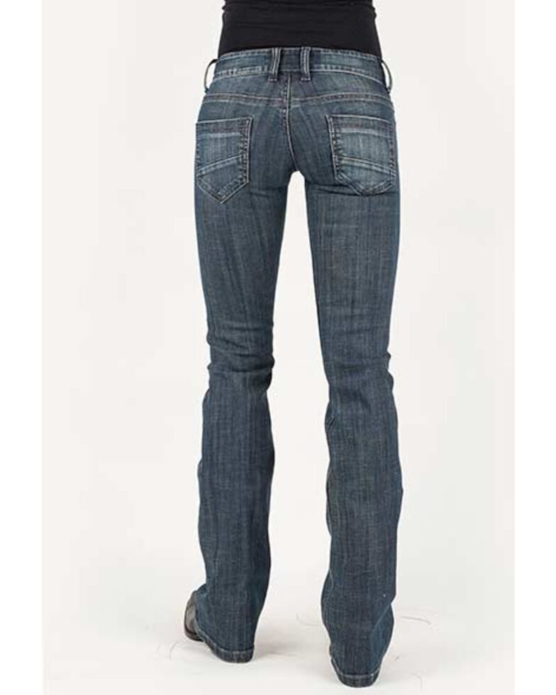Stetson Women's 818 Medium Hollywood Deco Bootcut Jeans, Blue, hi-res