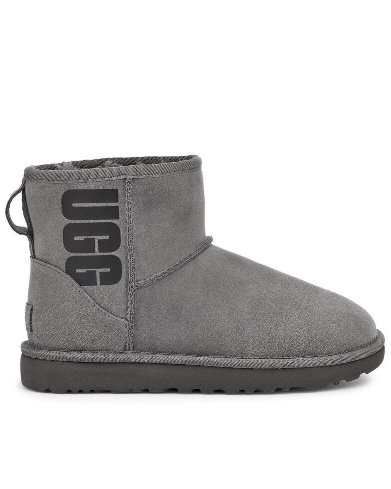 UGG Women's Grey Classic Mini Boots - Round Toe, Grey, hi-res