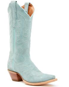 Dan Post Women's Seafoam Suede Western Boots - Snip Toe, Light Green, hi-res