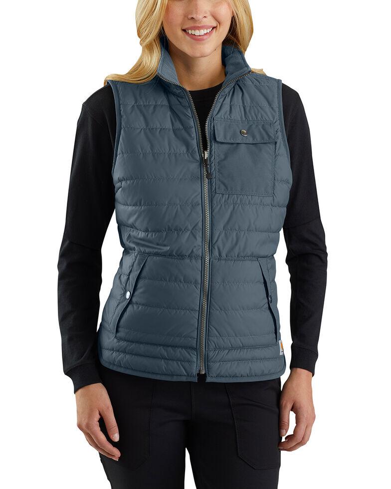 Carhartt Women's Black Amoret Flannel Lined Vest , Slate, hi-res