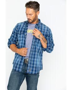 Wrangler Retro Men's Premium Indigo Plaid Long Sleeve Western Shirt , Indigo, hi-res