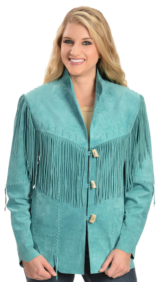 Scully Fringe Suede Leather Jacket, Turquoise, hi-res