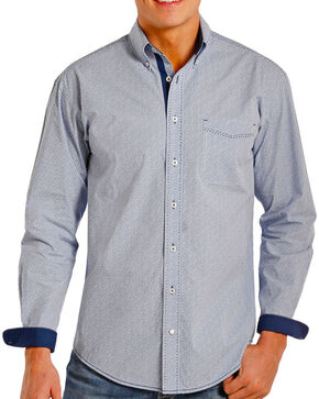 Rough Stock by Panhandle Men's Contrast Printed Long Sleeve Shirt, Light/pastel Blue, hi-res