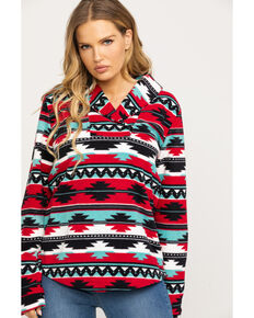 Outback Trading Co. Women's Red Aztec Fleece Janet Pullover, Multi, hi-res
