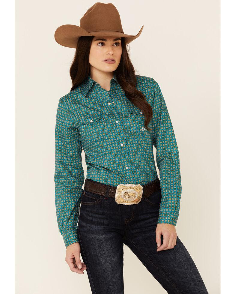 Roper Women's Sweet Water Foulard Geo Print Long Sleeve Snap Western Shirt , Teal, hi-res