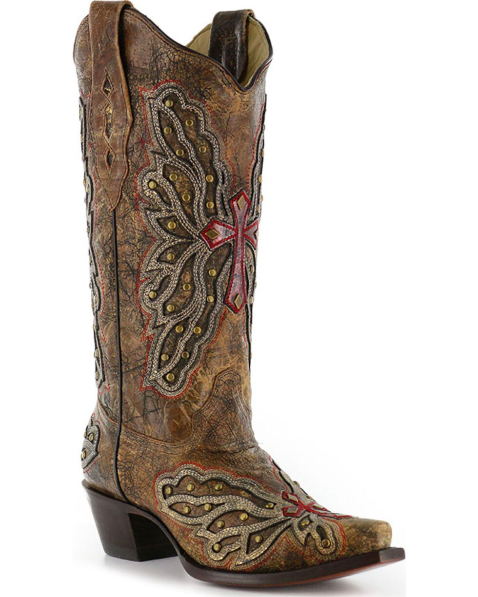 Corral Women's Wing and Cross Inlay Western Boots - Snip Toe, Bronze, hi-res
